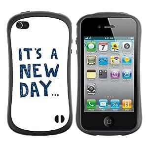 """Hypernova Slim Fit Dual Barniz Protector Caso Case Funda Para Apple iPhone 4 / iPhone 4S [Es un texto nuevo día de motivación inspiradora""""]"""