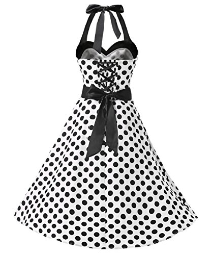Dresstells® Halter 50s Rockabilly Polka Dots Audrey Dress Retro Cocktail Dress White Black Dot
