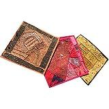 Mogul 3pc Cushion Covers Vintage Sequin Patchwork Decorative Pillow Cover 16 x 16