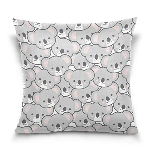 Nextchange Cute Cartoon Koala Face Filling Pattern Cotton Creative Design and Beautiful Pillowcase (Two Sides) Pillow Cover Great Festival Gift -