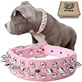 teemerryca Adjustable Leather Spiked Studded Dog Collars with a Squeak Ball Gift for Small Medium Large Pets Like Cats/Pit Bull/Bulldog/Pugs/Husky, Pink, L 15.7-18.5 inches
