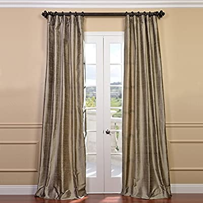 HPD Half Price Drapes DIS-ID7806-96 Textured Dupioni Silk Curtain, 50 x 96, Brown - Sold Per Panel 100% Silk. Contemporary Lined & Interlined - living-room-soft-furnishings, living-room, draperies-curtains-shades - 51khc5OODdL. SS400  -