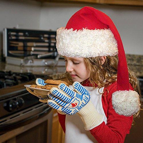 # 1Grill Handschuhe hitzebeständig bis 932°F–PREMIUM Grill & Ofen hitzebeständig Handschuhe–Set von 2Küche Handschuhe isoliert durch Aramid mit 100% Baumwolle Futter bietet Super Komfort für BBQ–5Finger hitzebeständig Ofen Handschuhe Set–Verwe