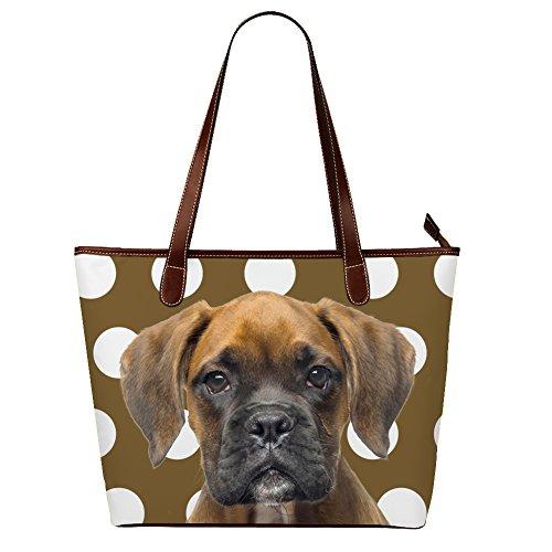 Funny Brindle Boxer Dog Polka Dots Pattern Handbags for Girls Dog Lover - Brindle Dog Gifts Boxer
