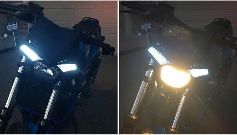 /Blanc Jfgracing S2/12/V 35/W Moto universel Phare Lampe frontale Lampes LED pour KTM Yamaha Kawasaki Honda Dirt Pit Bike/