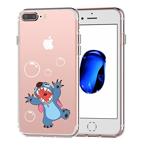 watch d856a 4a43e iPhone 7 Plus CASE,iPhone 8 Plus CASE, Stitch Playing Bubble 3D Printed  Soft Clear Cute Case