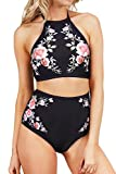 Seaselfie Black Retro High-waisted Halter Padded Bathing Suit with Rose Printing Small
