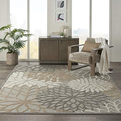 Nourison Aloha Indoor/Outdoor Floral Natural Area Rug (7' x 10'), 7'X10',