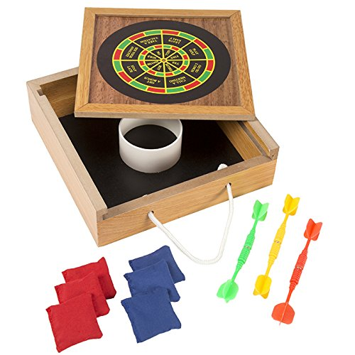 Portable Tabletop Bean Bag Toss & Magnetic Dart Combo Game Set