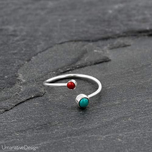 Toe Ring, Sterling Silver Open Adjustable Foot OR Midi Knuckle Ring with Turquoise & Red Coral gemstones, Unique Bohemian Beach jewelry, Handmade Boho Summer Wedding ()