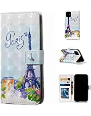 Glitter Wallet Case for iPhone 12 Mini and Screen Protector,QFFUN Bling 3D Pattern Design [Tower] Magnetic Stand Leather Phone Case with Card Holder Drop Protection Etui Bumper Flip Cover