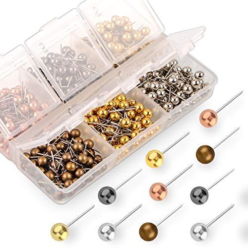 Map Push Pins - Yalis Push Pins Map Tacks 1/8-Inch Retro Metallic Color Beads Head Marking Pins, 6 Colors, 360-count
