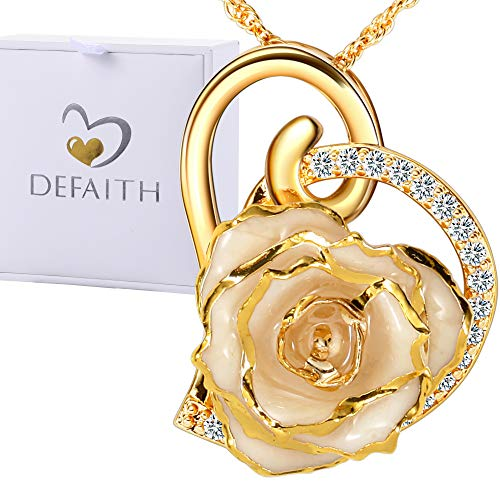 (DEFAITH 24K Gold Dipped Rose Pendant Chain Necklace, Best Gifts for Wife Girlfriend Mother for Christmas Valentine's Day Anniversary Birthday Gift - Heart)
