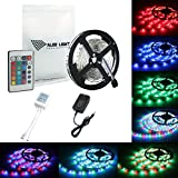 ALED LIGHT LED Strip 5Meter/ 16.4 Feet 300 SMD 3528 RGB Non- Waterproof Seasonal Lighting LED Rope Light, Pack for Home Indoor Decoration, Color Changing Kit with Flexible Strip Light + Control Cable + Power Supply
