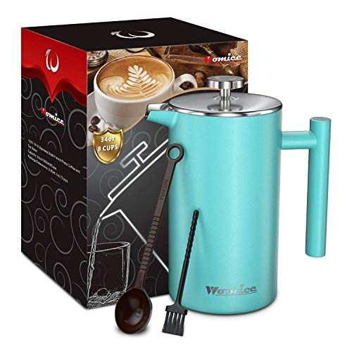 French Press Coffee Maker – 34 oz, Double-Wall 304 Stainless Steel Vacuum Insulated Tea Brewer Pot with 4 Level Filtration System – Extra 2pcs Filters Included – 8 Cup/1000ml (Blue)