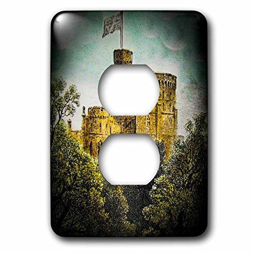 3D Rose LSP_246138_6 Victorian Era Magic Lantern Slide Windsor Castle Round Tower Vintage 2 Plug Outlet Cover