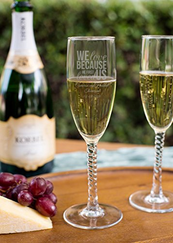 We Love Because 5.75 Oz Twisted Stem Champagne Flute, Personalized Pack of 72, Engraved Toasting Glasses, Bridal Party Bachelorette Favors (Twisted Stem Flute)