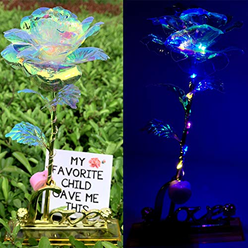 24K Luminous Rose Artificial LED Light Flower with Love Stand Greeting Card in Box,Gift Present Idea for Her for Mother's Day,Anniversary,Wedding Ceremony,Birthday(Colorful)]()