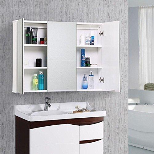 World Pride 3 Doors Mirror Bathroom Cabinet Internal Shelves Minimalist Wall Mounted ,White