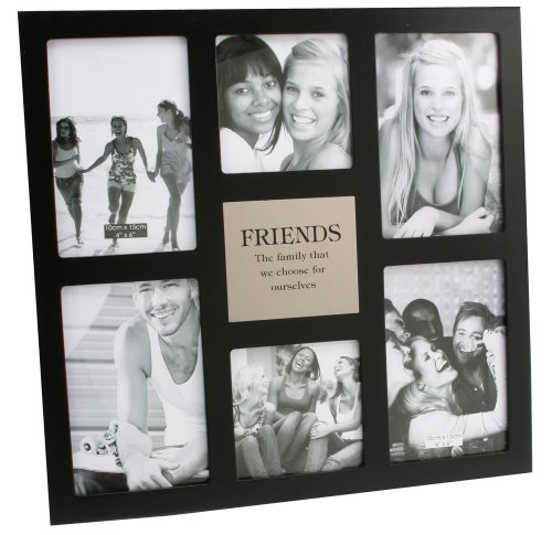 large black collage friends photo frame with silver plaque by haysom interiors