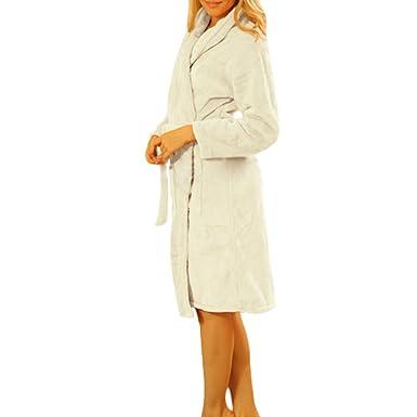 Y&L Mujeres Camisones Kimono Ropa Para Dormir, Batas De Colores Sólidos Cómoda De Lana Noctámbulo
