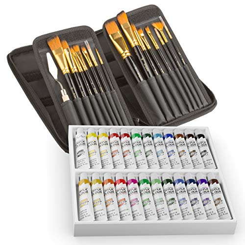 Acrylic Paint Set with Brushes Kit, 24 Color Paints and 15 Artist Brushes, Art Kits for Acrylic Painting for Kids and Adults (Beginners, Students or Professionals)