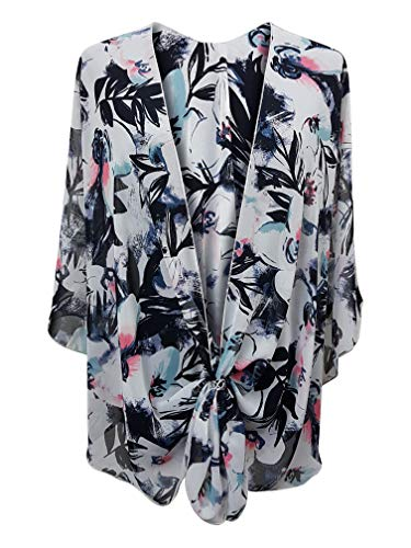 (eXcaped Women's Evening Shawl Wrap Sheer Chiffon Open Front Cape with Rose Gold Scarf Ring (Floral)