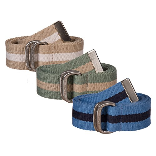 Belted Canvas Belt (Sunny Belt Girls' 3 pack Canvas Belts with Metal Double-Ring Buckles and)