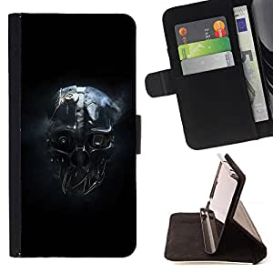 Skull Mask Head Portrait Robot Ai Future - Painting Art Smile Face Style Design PU Leather Flip Stand Case Cover FOR Apple Iphone 4 / 4S @ The Smurfs