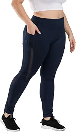 Uoohal Plus Size Active Leggings for Women High Waist Yoga Pants with Pockets Running Workout Athletic Pants