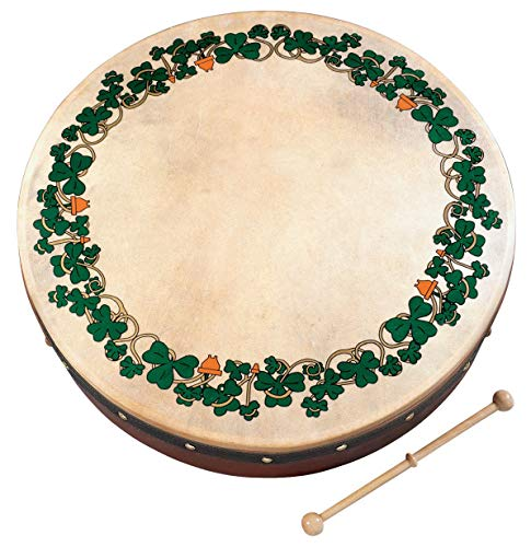 Waltons 15″ Shamrock Bodhran – Handcrafted Irish Instrument – Crisp & Musical Tone – Hardwood Beater Included w/Purchase