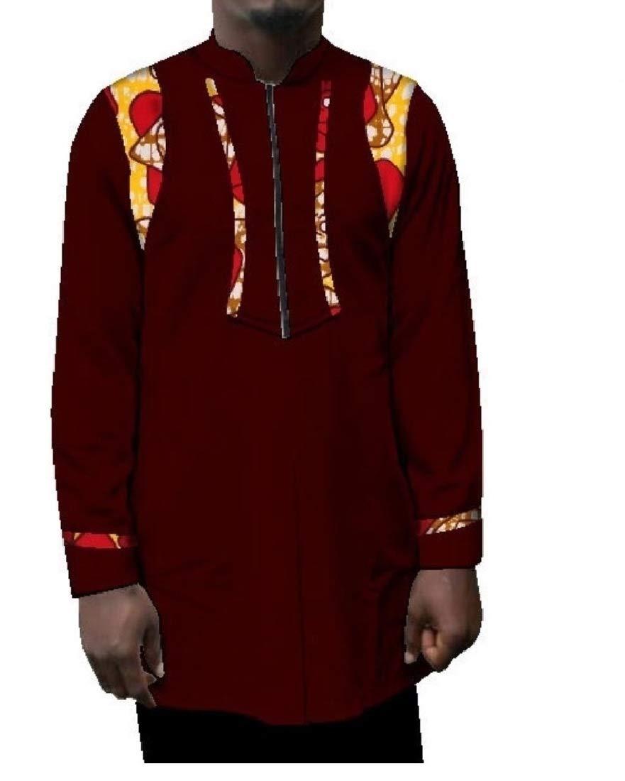 Doufine Mens Batik Shirt African Dashiki Mulit Color Oversized T Shirts Three XL