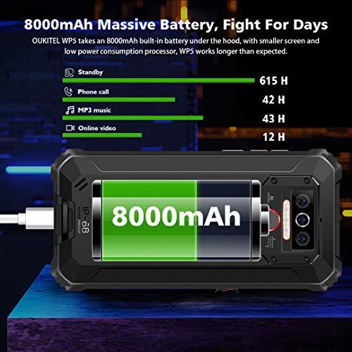 Téléphone Incassable OUKITEL WP5, Grande Batterie 8000 mAh, 4GO RAM + 32Go ROM, Smartphone Antichoc Étanche, Écran 5,5… 3