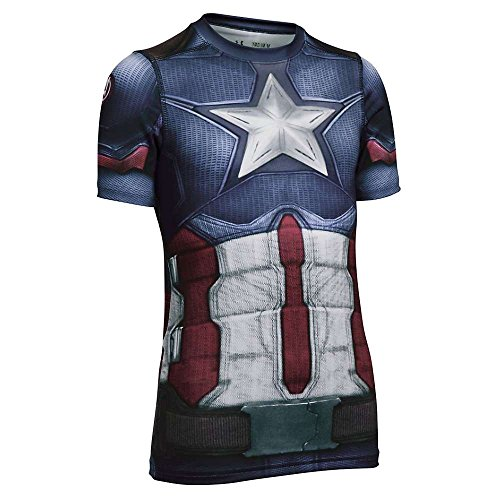 Under Armour Boys' Captain America SS Suit Midnight Navy / White XL