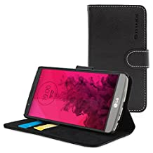 LG G3 Case, SnuggTM - Black Leather Wallet Case Cover and Stand with Card Slots & Soft Premium Nubuck Fibre Interior - Protective LG G3 Flip Cover - Includes Lifetime Guarantee