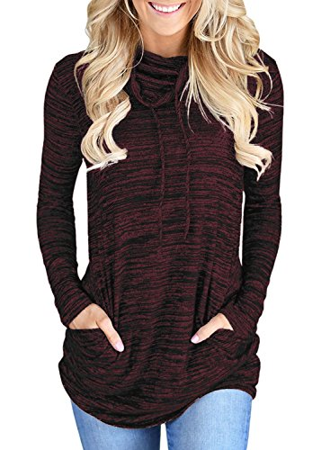 Womens Long Sleeve Cowl Neck Casual Loose Tunic Pullover Sweatshirt Lightweight Blouse Tops with Pockets Wine M 8 10