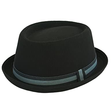 New Mens Ladies Pork Pie Hats With Green   Black Band Black (59cm ... 9527e089daa
