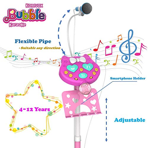 Kids Karaoke Microphone With Stand, Kids Karaoke Machine With Microphone Singing, Creative Birthday Gifts For Girls Age 3 4 5 6 Year Old Boys, Enjoy Bubbles Cheering Drum Effects by TiMi Tree (Image #4)