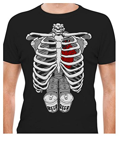 Halloween Skeleton Six Pack Beer Abs Xray Funny Costume T-Shirt Small -