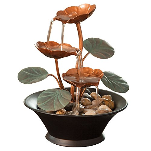 Bits and Pieces - Indoor Water Lily Water Fountain-Small Size Makes This A Perfect Tabletop Decoration - Compact and ()