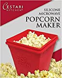 Microwave Popcorn Popper| Set of 2 Healthy Air Popcorn Poppers - No Oil Needed | BPA Free Silicone Microwave Popcorn Maker | by Cestari Kitchen ( Red , 2 Quarts, Makes 8 Cups)