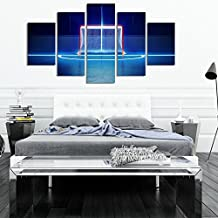 ShengX - 5 Pieces/Set HD Hockey On Canvas Oil Painting Landscape Sunset Wooden Wall Bridge For Living Room Modern Home Decorations(Unframed)