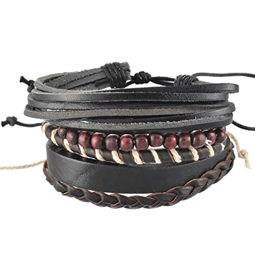 MJartoria Unisex PU Leather Hemp Cords Braided Beaded Multi Strands Adjustable Wrap Bracelets Set