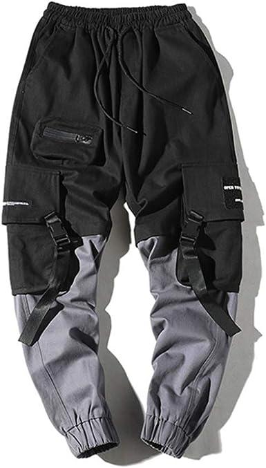 Pantalones Streetwear Para Hombre Cintas Harajuku Bolsillos Multiples Adornan Costuras Elasticas Color Hombre Casual Hip Hop Pantalones Cargo Amazon Es Ropa Y Accesorios