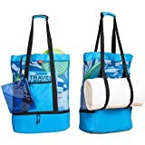 Sun Society Bag - 3 in 1 Beach Bag with Cooler, Towel Holder + Water Resistant pouch
