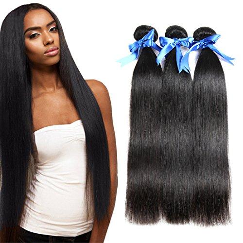 Price comparison product image Vivi Babi Hair Brazilian Straight Hair 3 Bundles Unprocessed Brazilian Straight Human Hair Extensions 100g/Bundle Natural Black 14 16 18 Inches