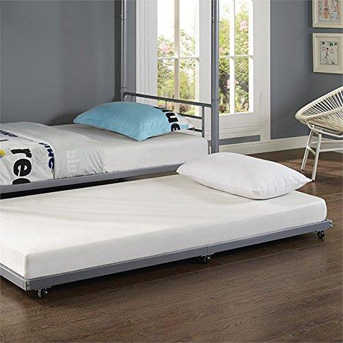 amazoncom walker edison twin trundle metal bed black kitchen dining - Full Trundle Bed Frame