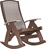 LuxCraft Poly Comfort Rocker (Weatherwood & Chestnut Brown) For Sale