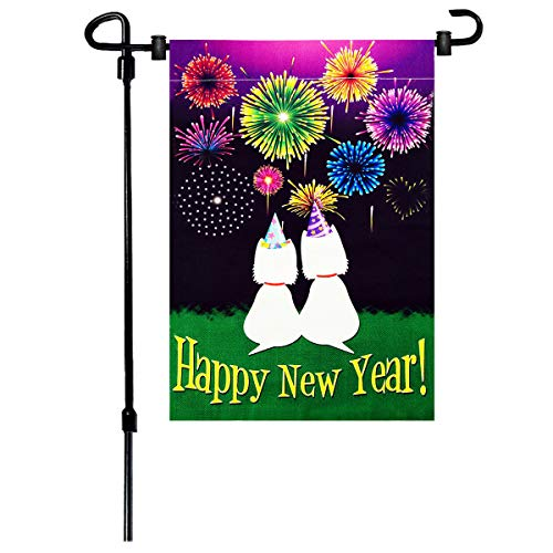 W&X New Years Flag,Happy New Year Garden Flag 12.5x18 Inch Double Sided Printing 2 Layer Burlap Valentine Flags for New Year Decoration -