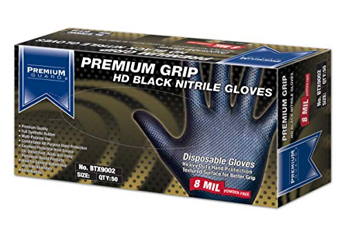 Premium Guard - Heavy Duty Disposable Nitrile Gloves, Diamond Textured, Latex Free, 8 mil, Black Nitrile Gloves, 50 gloves per Box, Size - Medium